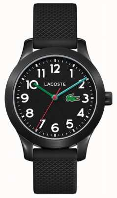 Lacoste | 12.12 enfants | bracelet en silicone noir | cadran noir | 2030032