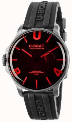 U-Boat Bracelet en caoutchouc noir en verre rouge de 44 mm de Darkmoon 8465