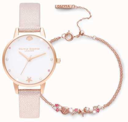 Olivia Burton | sous la mer | coffret cadeau montre et bracelet | rose | OBGSET141