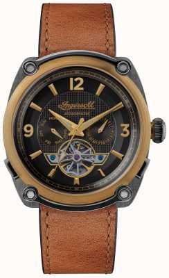 Ingersoll Le michigan | remontoir de montre | bracelet marron cadran noir I01104