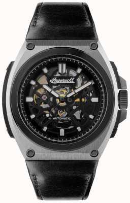 Ingersoll Le mouvement automatique cadran squelette noir bracelet en cuir noir I11702