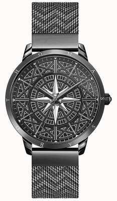 Thomas Sabo | hommes | esprit | bracelet en maille noire | Cadran boussole 3D | WA0374-202-203-42
