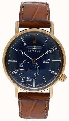 Zeppelin | lz120 rome lady | bracelet en cuir marron | cadran bleu | 7137-3