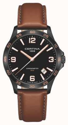 Certina | ds-8 | bracelet en cuir marron | cadran noir | quartz | C0338513605700