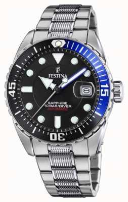 Festina Homme automatique | bracelet en acier inoxydable | cadran noir F20480/3