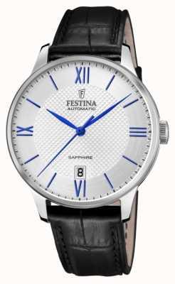 Festina Homme automatique | bracelet en cuir noir | cadran argenté | marqueurs bleus F20484/1