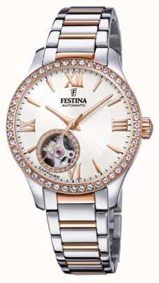 Festina Automatique pour femmes | bracelet en acier inoxydable bicolore | cadran argenté F20487/1