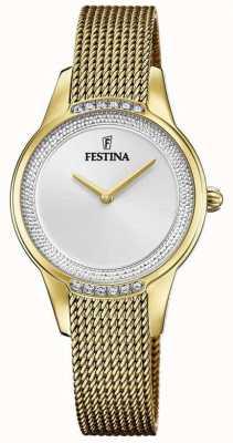 Festina Bracelet en maille d'acier plaqué or pour femme | cadran serti de cristal argenté F20495/1