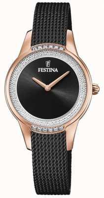 Festina Bracelet en maille d'acier noir pour femme | cadran serti de cristal noir F20496/2