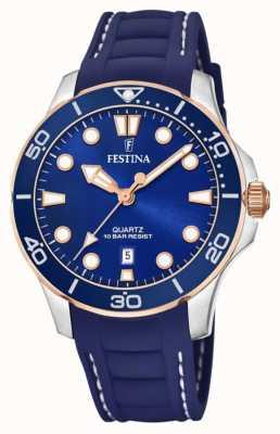 Festina Bracelet en silicone bleu pour femme | cadran bleu F20502/2