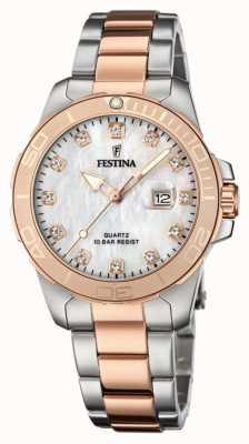 Festina Bracelet femme en acier inoxydable bicolore | cadran en nacre F20505/1