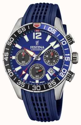 Festina Chronographe homme | bracelet en silicone bleu | cadran bleu F20517/1