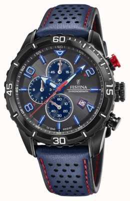Festina Chronographe homme | bracelet en cuir bleu | cadran gris / bleu F20519/3
