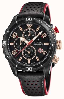 Festina Chronographe homme | bracelet en cuir noir | cadran noir F20519/4