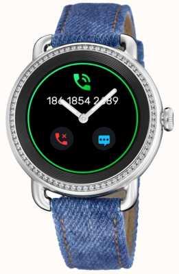 Festina Smartime | bracelet en denim bleu | écran couleur | bracelet en cuir blanc supplémentaire F50000/1
