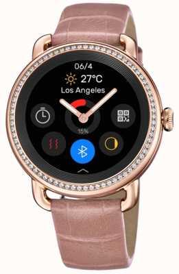 Festina Smartime | bracelet en cuir rose pour femme | écran couleur | ensemble de cristal F50002/2