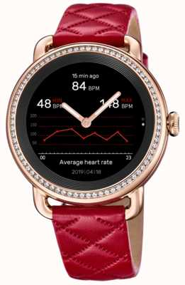 Festina Smartime | bracelet en cuir rouge pour femme | ensemble de cristal | écran couleur | F50002/3