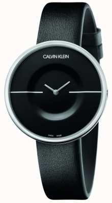 Calvin Klein Mania | bracelet en cuir noir pour femme | cadran noir KAG231C1
