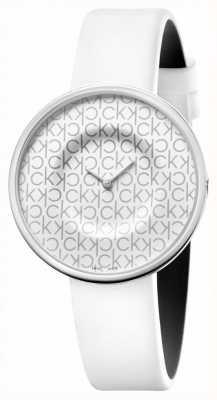 Calvin Klein Mania | bracelet en cuir blanc pour femme | cadran blanc KAG231LX