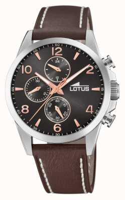 Lotus Bracelet en cuir marron pour homme | cadran de chronographe noir L18630/3