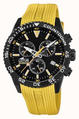 Lotus Bracelet en silicone jaune pour homme | cadran de chronographe noir L18672/4