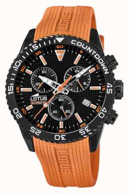 Lotus Bracelet en silicone orange pour homme | cadran de chronographe noir L18672/5