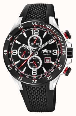 Lotus Bracelet en silicone noir pour homme | cadran de chronographe noir L18673/3