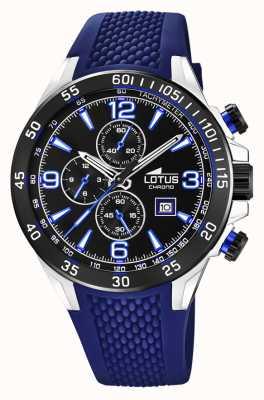 Lotus Bracelet en silicone bleu pour homme | cadran de chronographe noir L18673/8