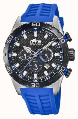 Lotus Couleur | bracelet en silicone bleu pour homme | cadran de chronographe noir L18677/4