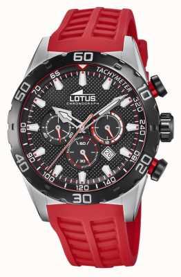 Lotus Couleur | bracelet en silicone rouge pour homme | cadran de chronographe noir L18677/6