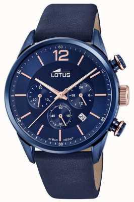 Lotus Bracelet en cuir bleu pour homme | cadran de chronographe bleu L18681/2