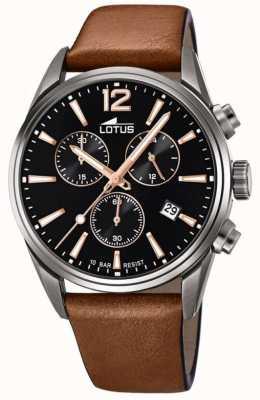 Lotus Bracelet en cuir marron pour homme | cadran de chronographe noir L18683/2