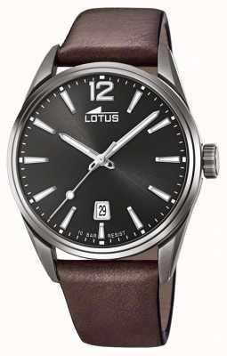 Lotus Bracelet en cuir marron pour homme | cadran noir L18685/1