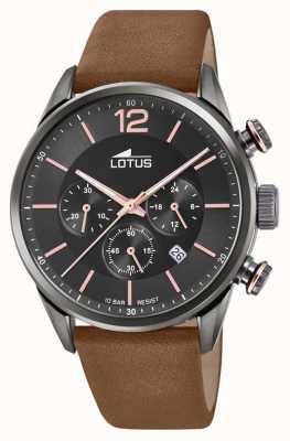Lotus Bracelet en cuir marron pour homme | cadran de chronographe noir L18687/2