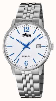 Lotus Bracelet homme en acier inoxydable | cadran argenté | aiguilles bleues / marqueurs L18694/2