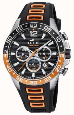 Lotus Bracelet en silicone noir / orange pour homme | cadran de chronographe noir L18697/1
