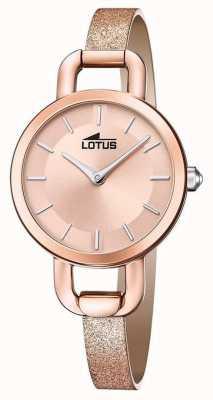 Lotus Bracelet en cuir pailleté pour femme | cadran en or rose L18747/1