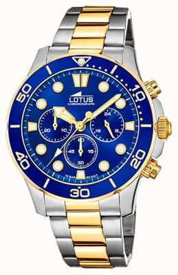Lotus Bracelet homme en acier bicolore | cadran de chronographe bleu L18757/1
