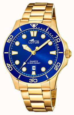 Lotus Bracelet homme en acier plaqué or | cadran bleu L18761/1