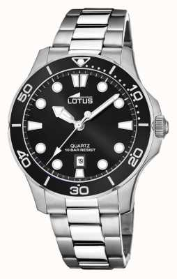 Lotus Bracelet homme en acier inoxydable | cadran noir L18762/2