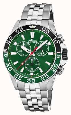 Lotus Bracelet homme en acier inoxydable | cadran vert | lunette verte / noire L18765/2