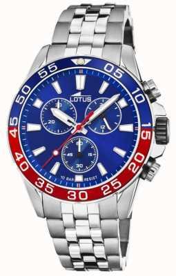 Lotus Bracelet homme en acier inoxydable | cadran bleu | lunette bleue / rouge L18765/3