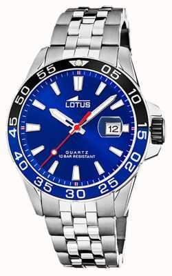 Lotus Bracelet homme en acier inoxydable | cadran bleu | lunette noire / bleue L18766/1