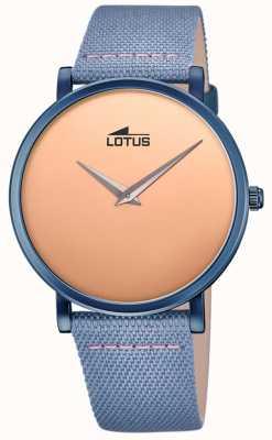 Lotus Bracelet en cuir bleu pour homme | cadran en or rose L18781/1