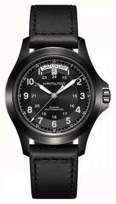 Hamilton Roi des champs kaki | bracelet en cuir noir | cadran noir H64465733