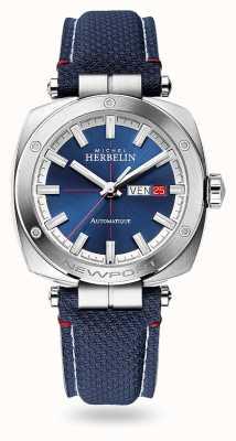 Michel Herbelin Newport Heritage automatique | bracelet en cuir bleu | cadran bleu 1764/42