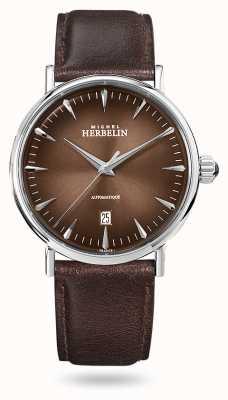 Michel Herbelin Inspiration automatique | bracelet en cuir marron pour homme | cadran marron 1647/AP27