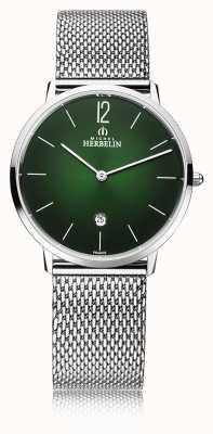 Michel Herbelin Ville | bracelet en maille d'acier pour homme | cadran vert 19515/16NB