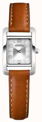 Michel Herbelin V avenue | bracelet en cuir marron | cadran argenté 17437/21GO
