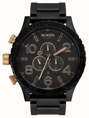Nixon 51-30 chrono | noir mat / or | bracelet ip noir | cadran noir A083-1041-00